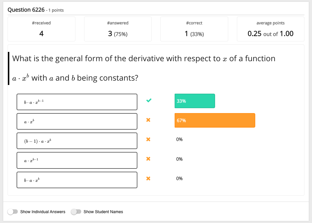 Test question analytics of a multiple choice question for teachers in Grasple test result page.