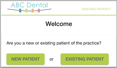 Dentally Patient Portal welcome screen - with branding