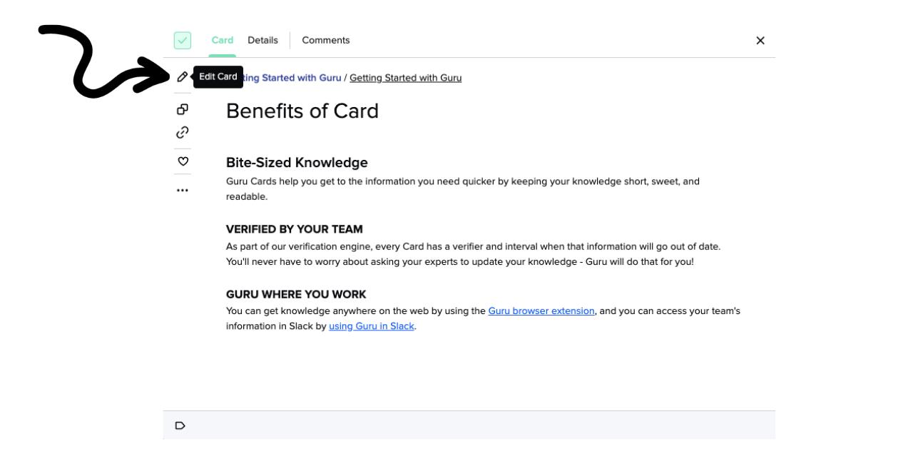 Edit Guru Card