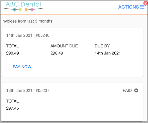 Dentally Patient Portal - view invoices