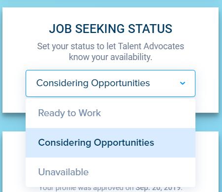 Overpass drop-down selector tool for Job Seeking Status