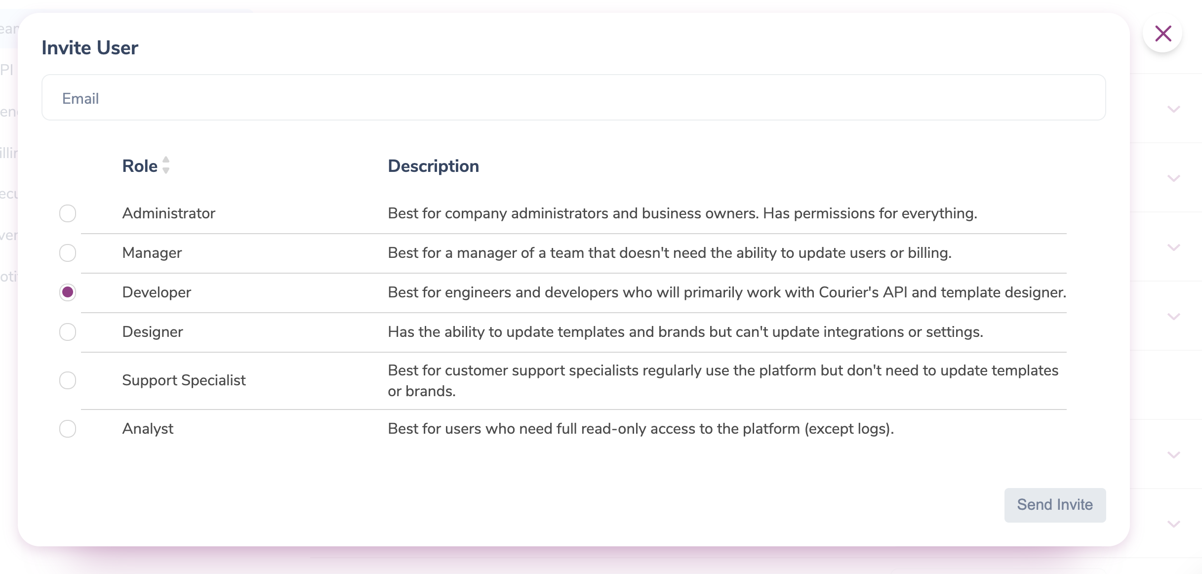 Setting User Roles and Permissions in Courier