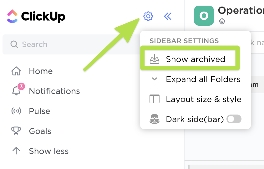 Screenshot of the Sidebar settings menu highlighting the Show archived button