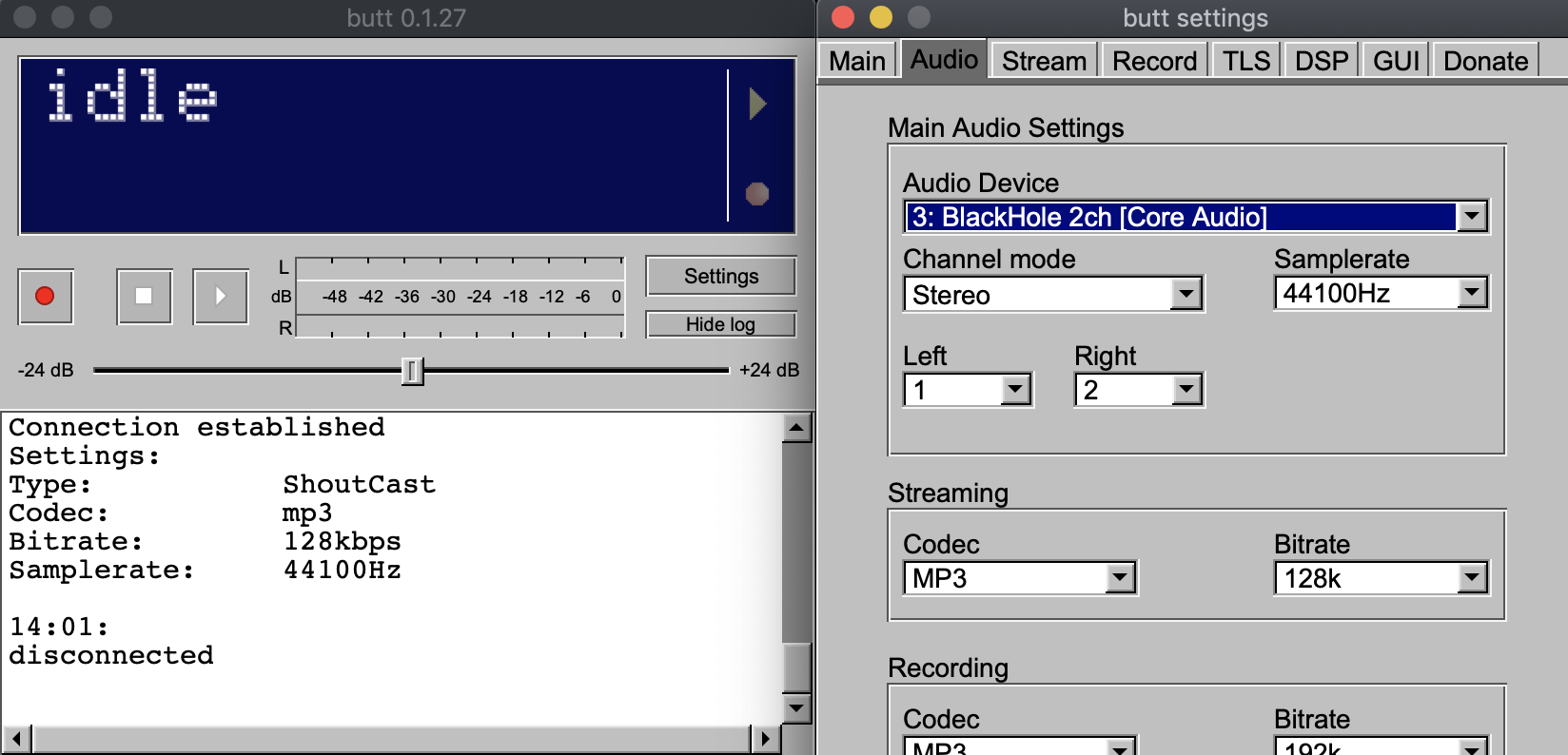 Updating audio settings in BUTT.