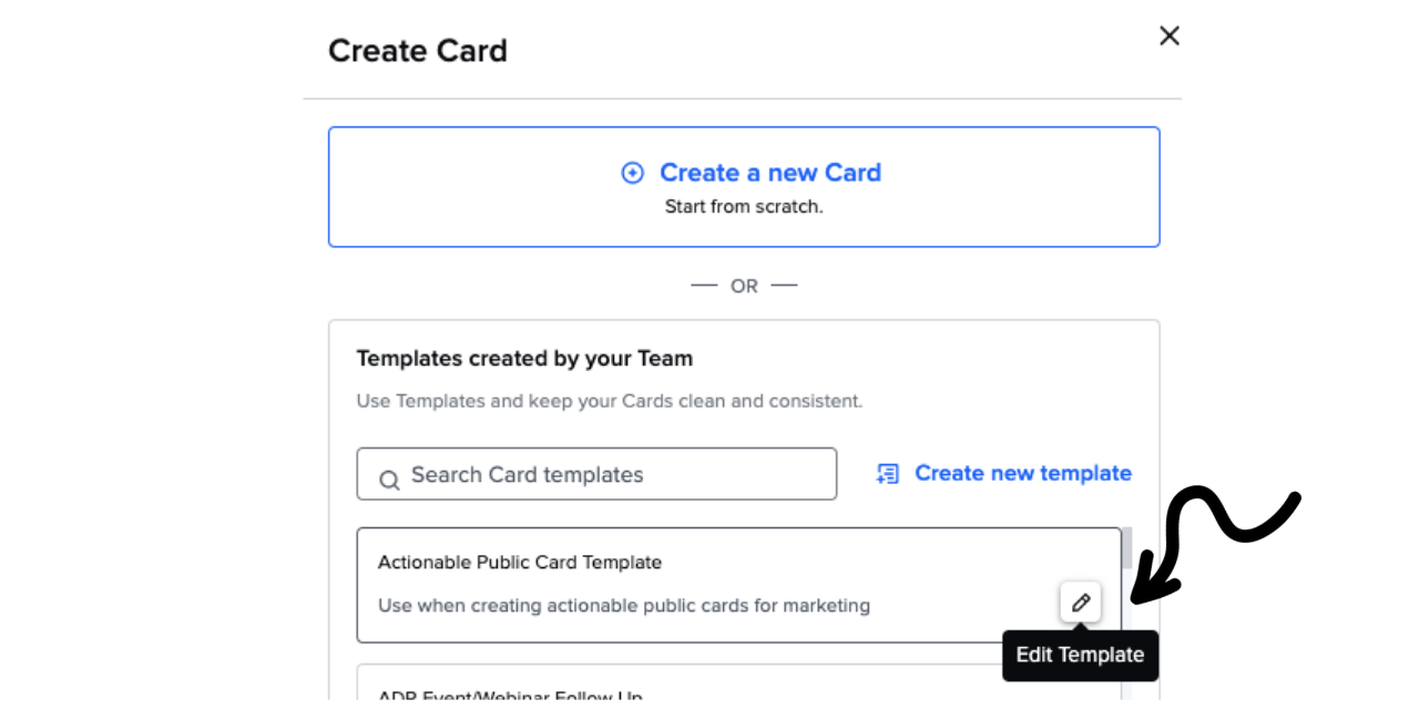 Manage Card template