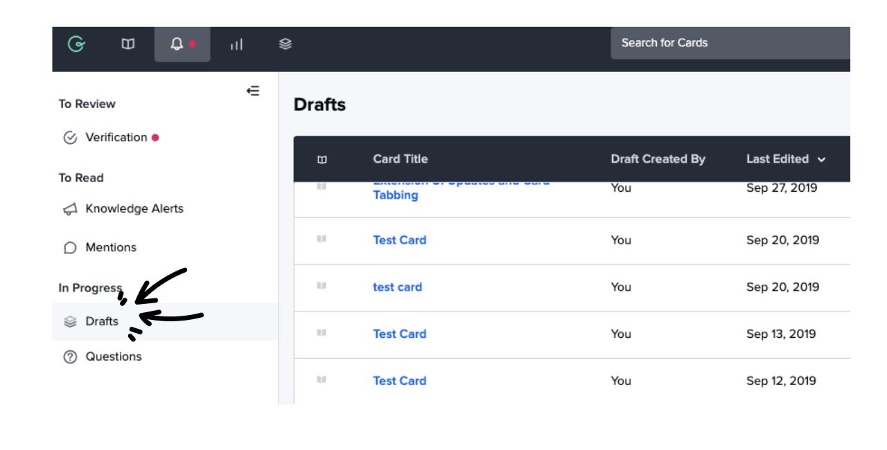 Drafts tab