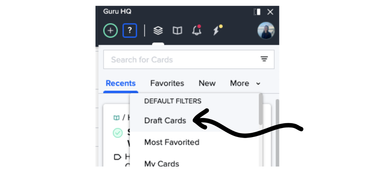 Draft Cards in the Guru extension