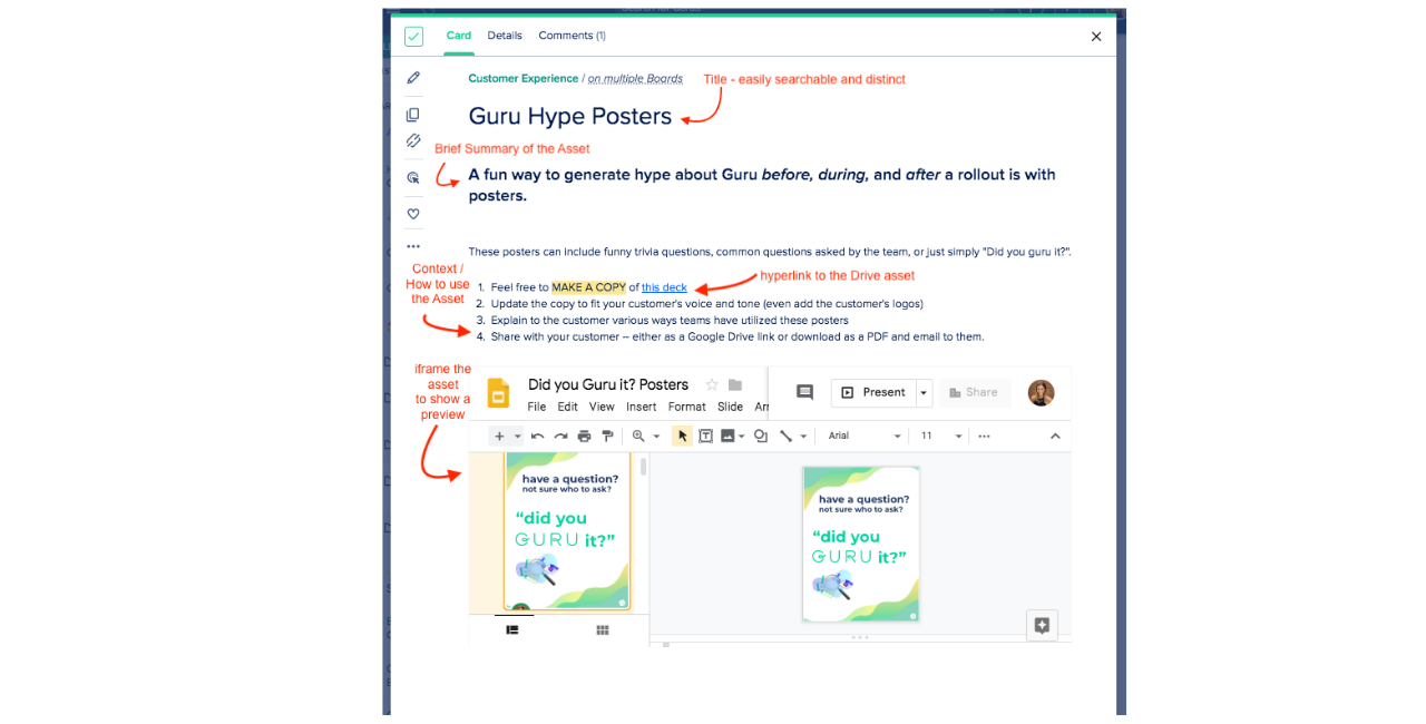 When to embed google Drive assets in Cards