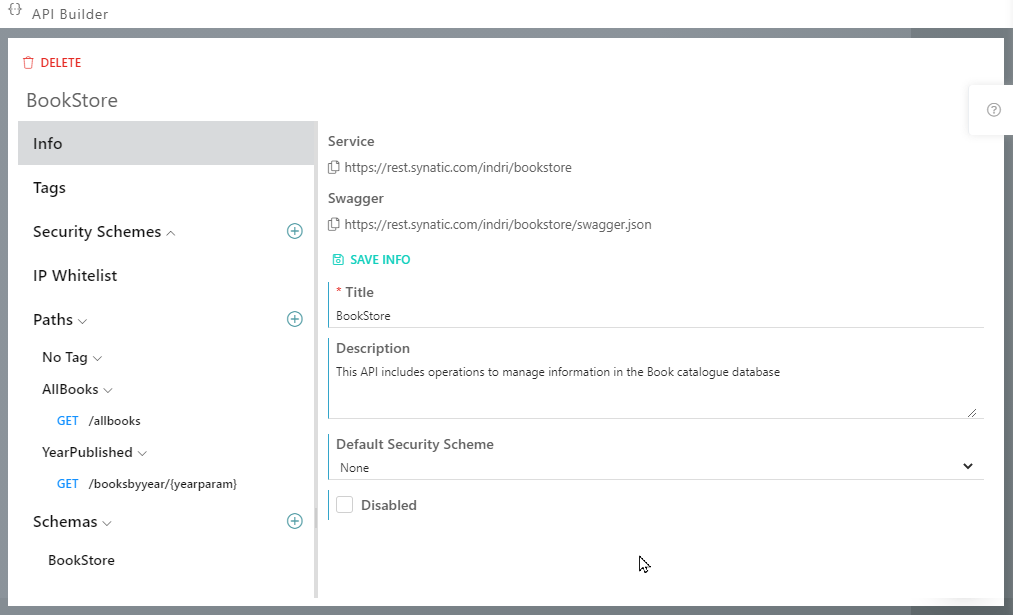 Synatic - API Builder - Info Tab