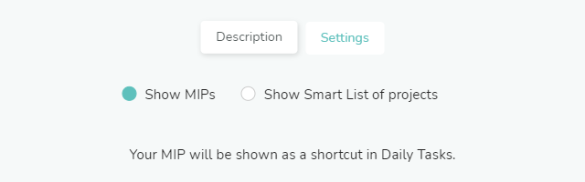 Show MIPS option in Projects Shortcuts