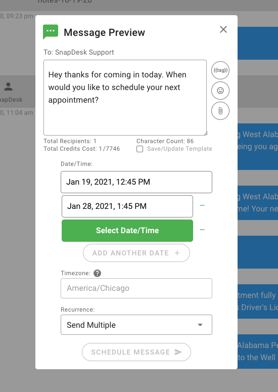 Select multiple dates to send a scheduled message.