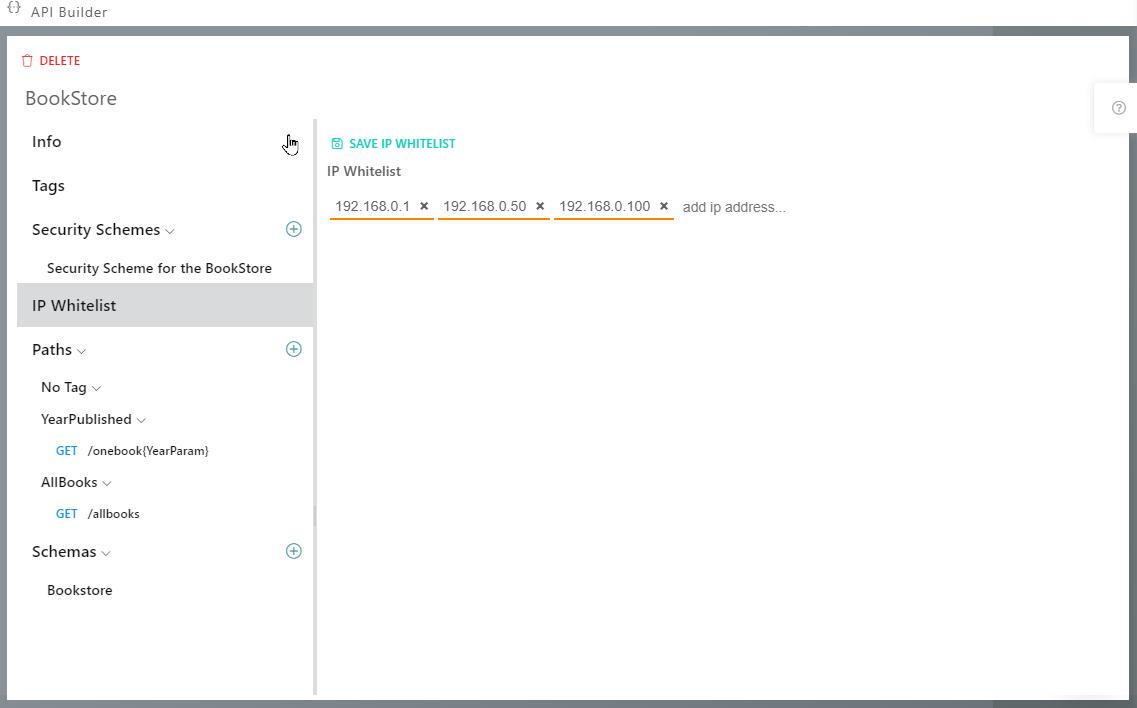 Synatic - API Builder - IP Whitelist Tab