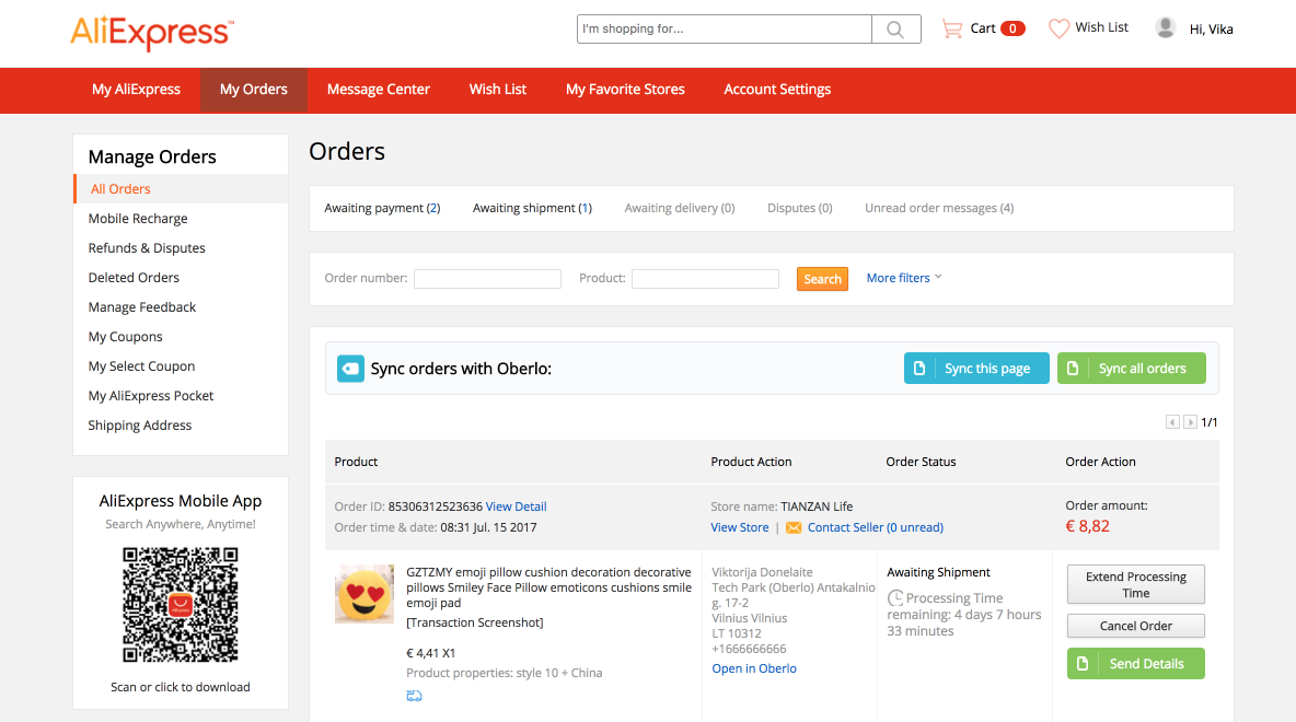 How To Fulfill Aliexpress Product Orders Oberlo Help Center