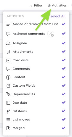 This shows how to select activities in Activity view