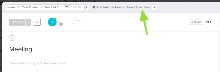 how to unarchive a task in task view