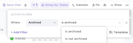 how to filter by archived and non archived