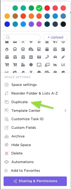 how to duplicate Space via ellipses menu