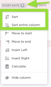 how to sort a column in List view