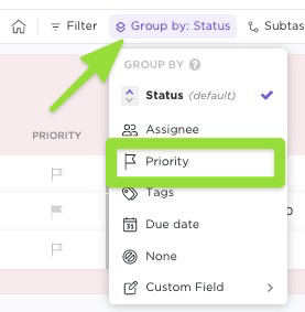 how to group by priority