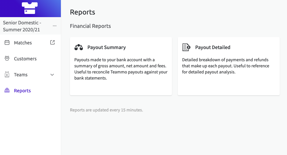 Screenshot of the Reports page in your organisation admin account