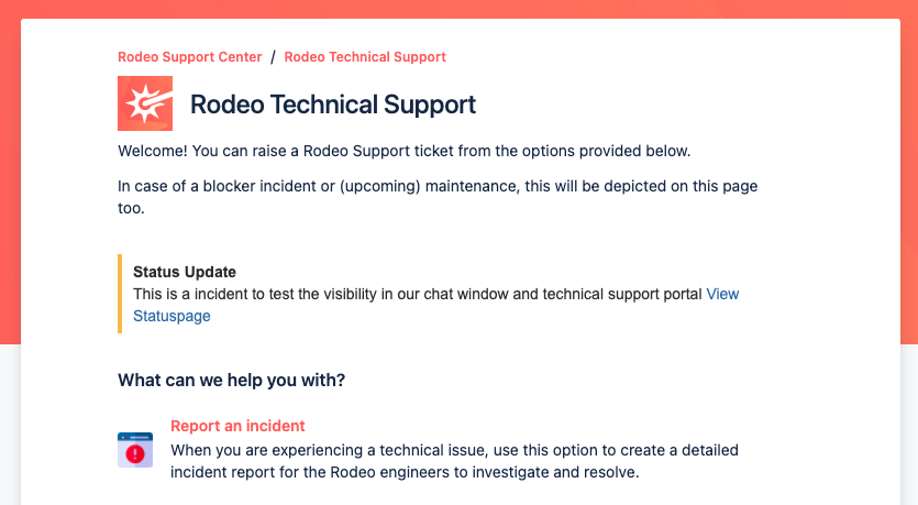 Example of a statuspage message in our technical support portal