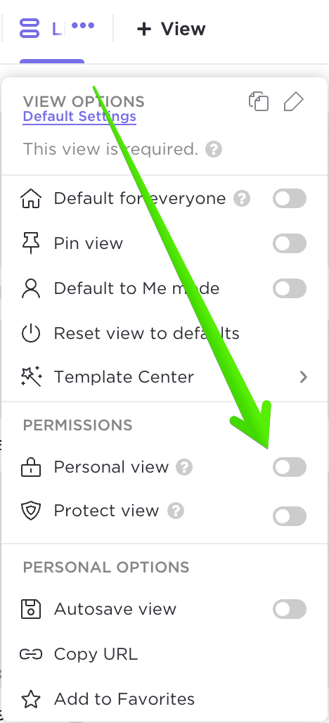 Showing where to select Personal view.