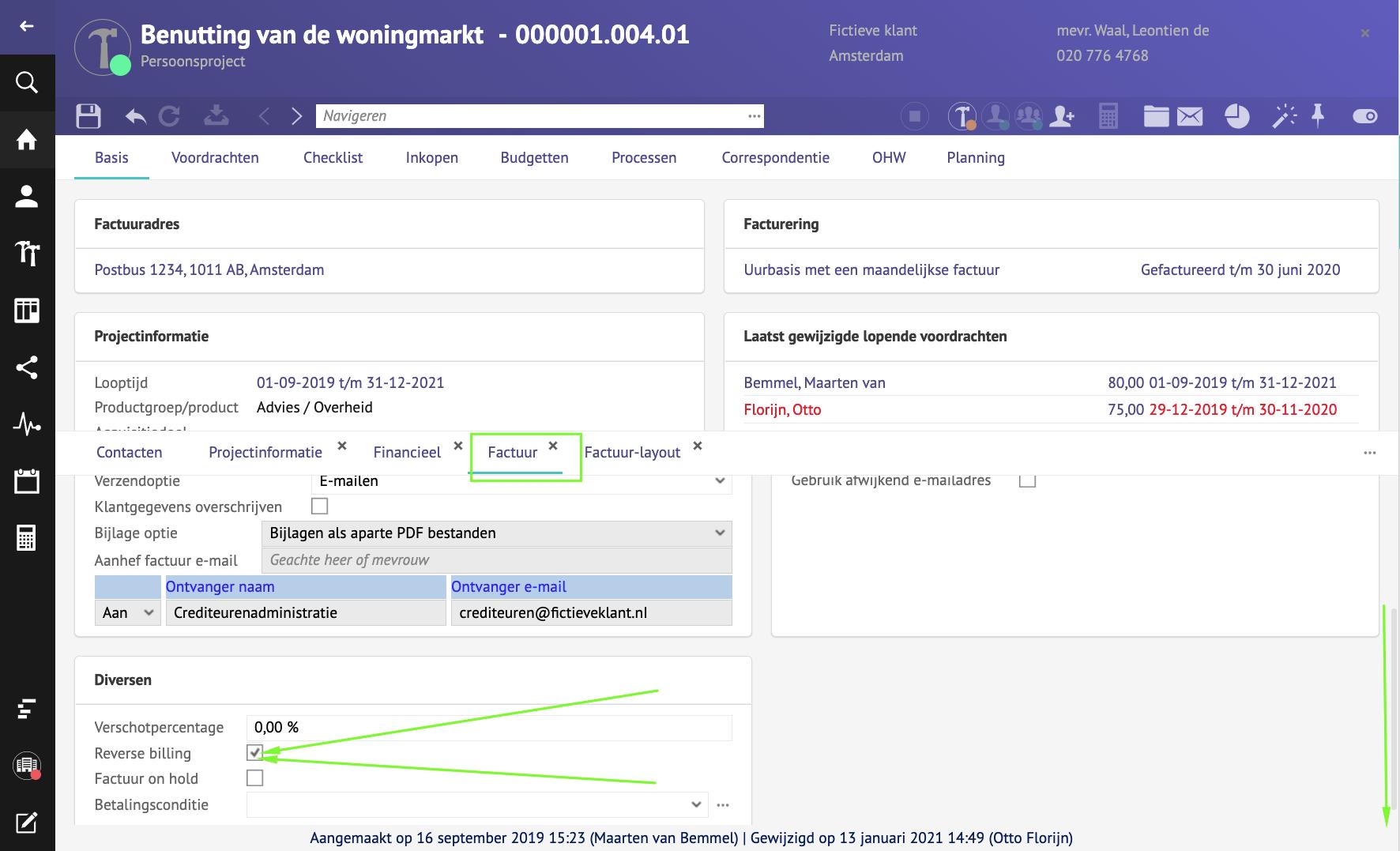 Reversed billing op een specifiek project in LIFT Software