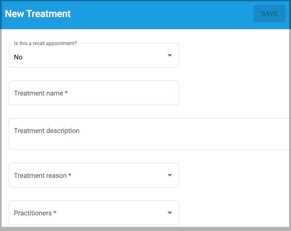 Dentally Patient Portal management dashboard - new treatment fields