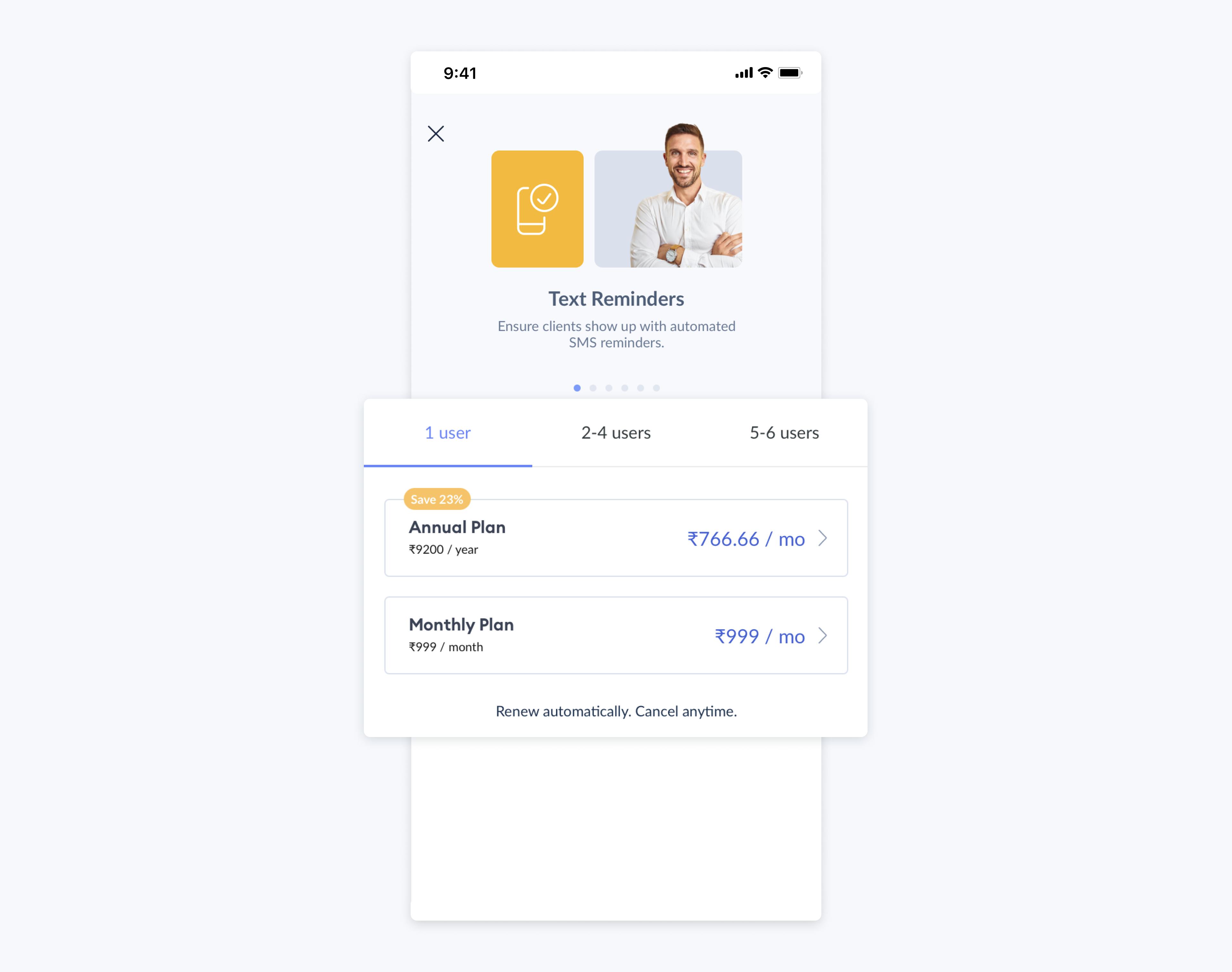 screen showing setmore premium plan on mobile app