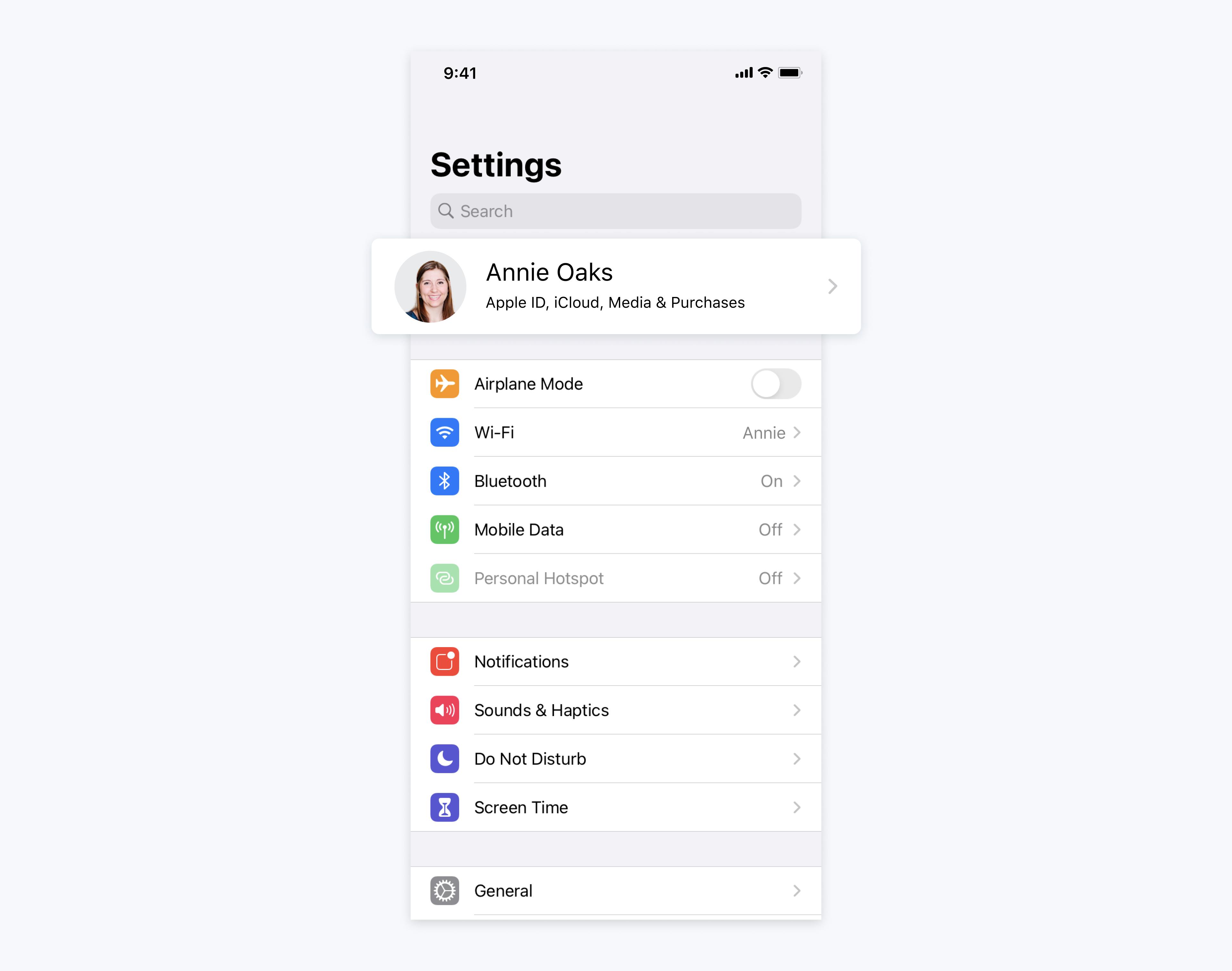 mobile phone screen for apple id settings