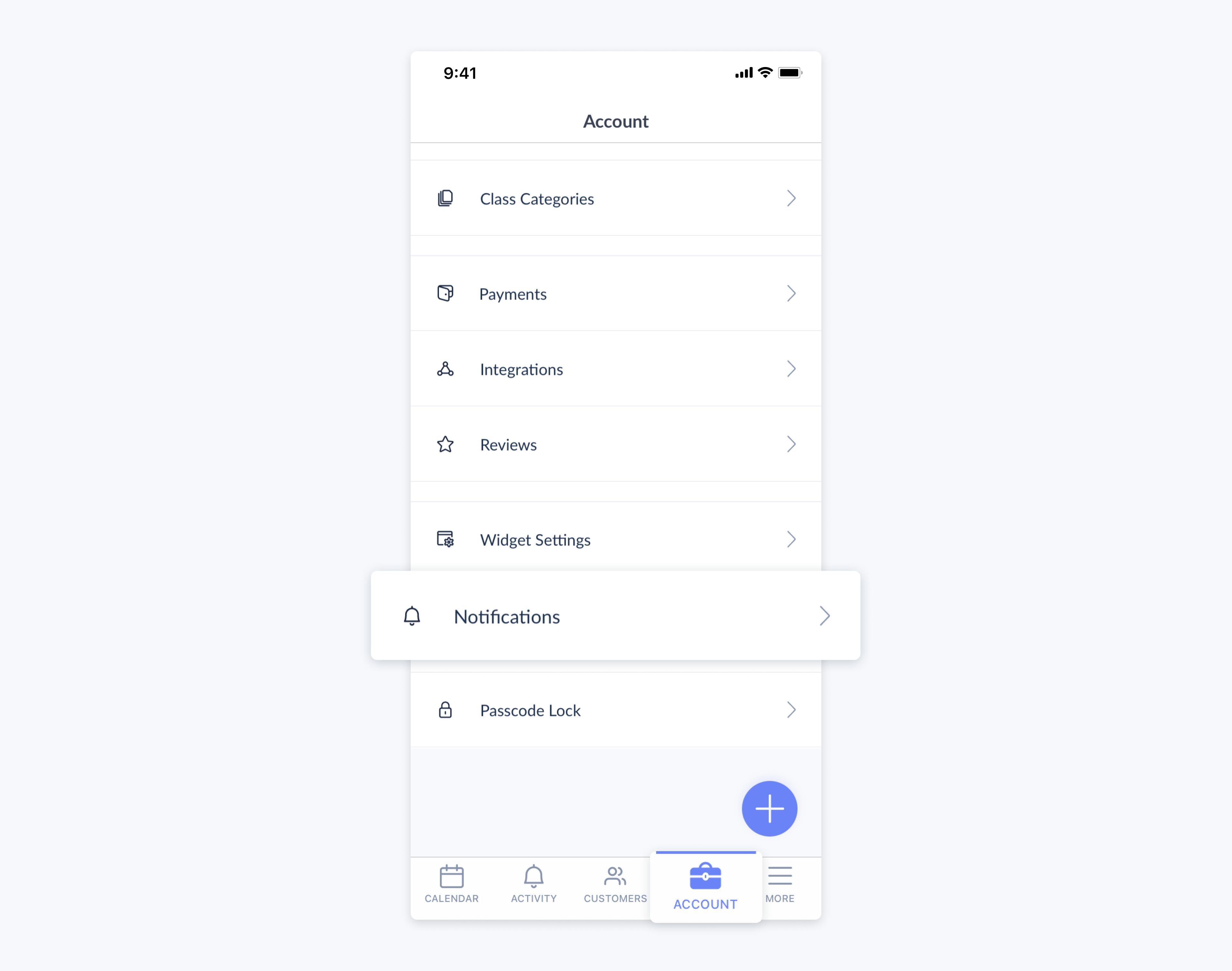setmore mobile app account menu