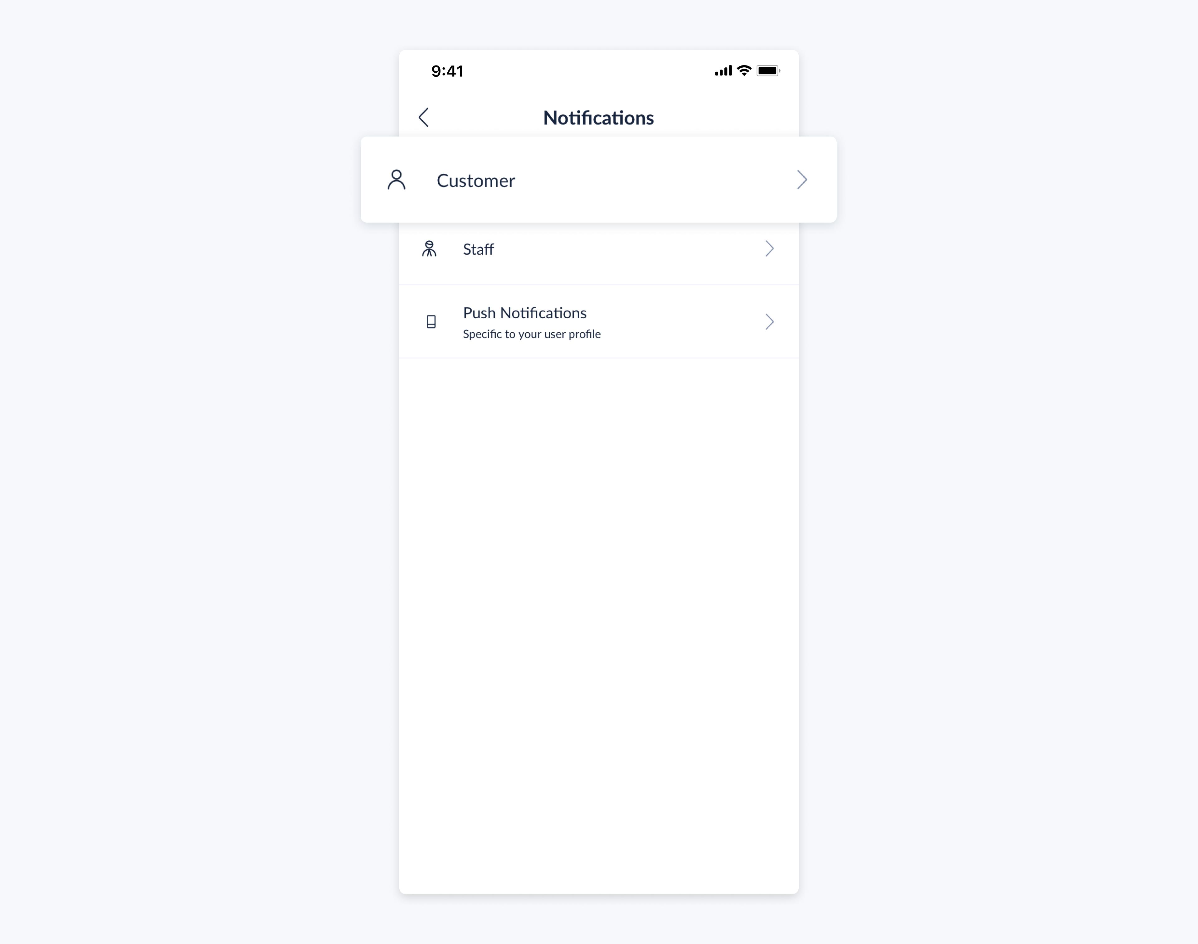 setmore mobile app customer notification menu