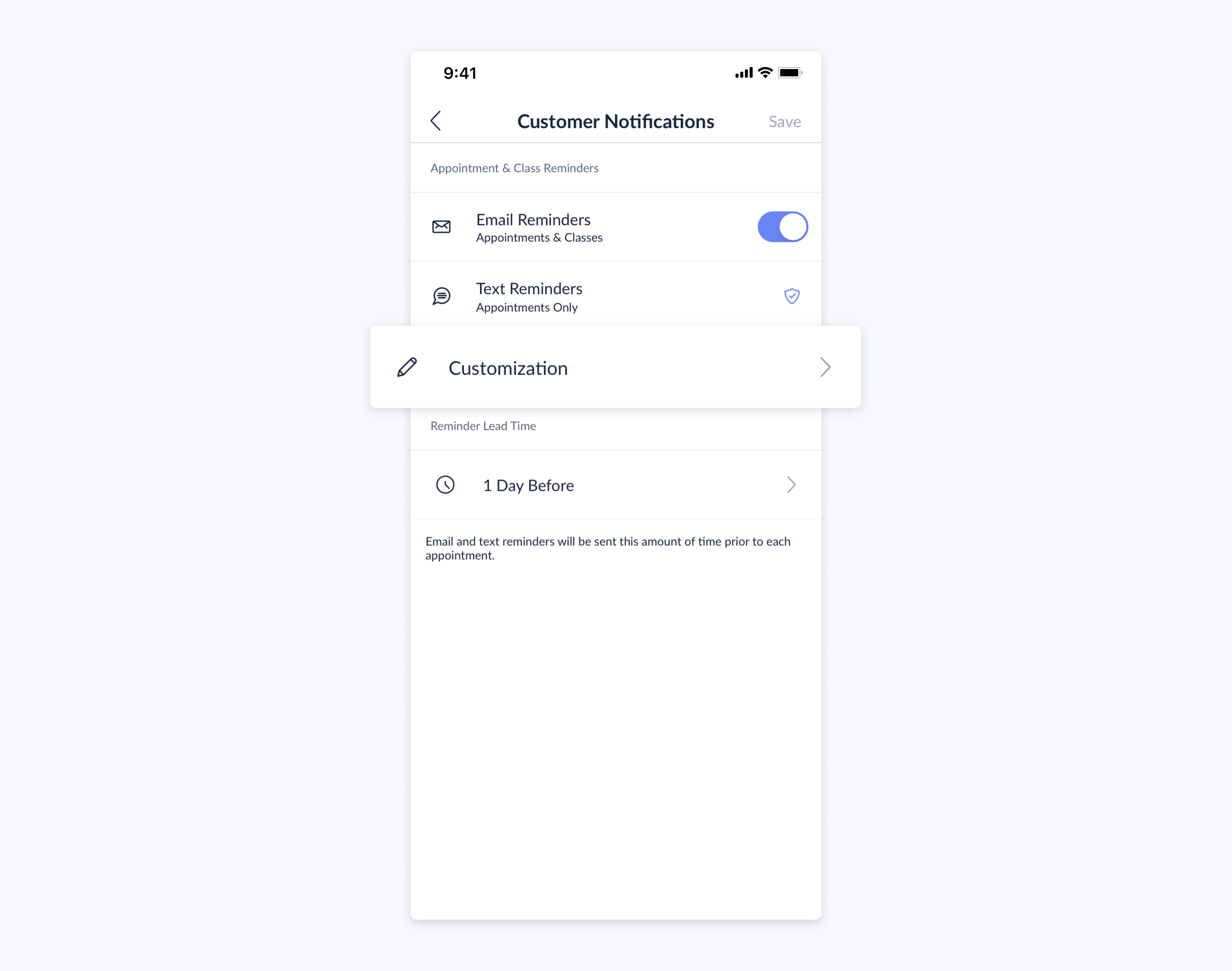 setmore moble app customer notifications customization