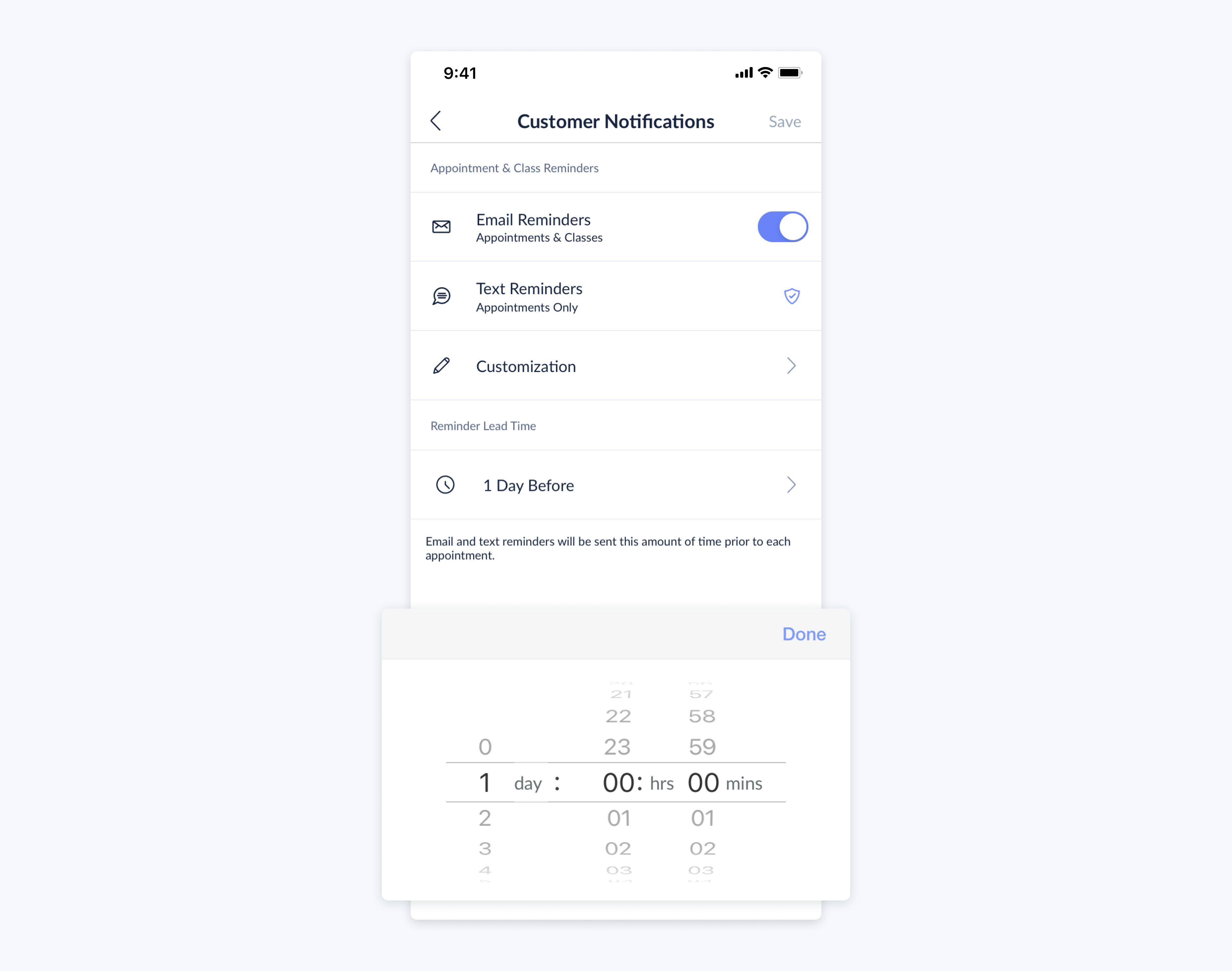 lead time for customers notifications on setmore mobile app