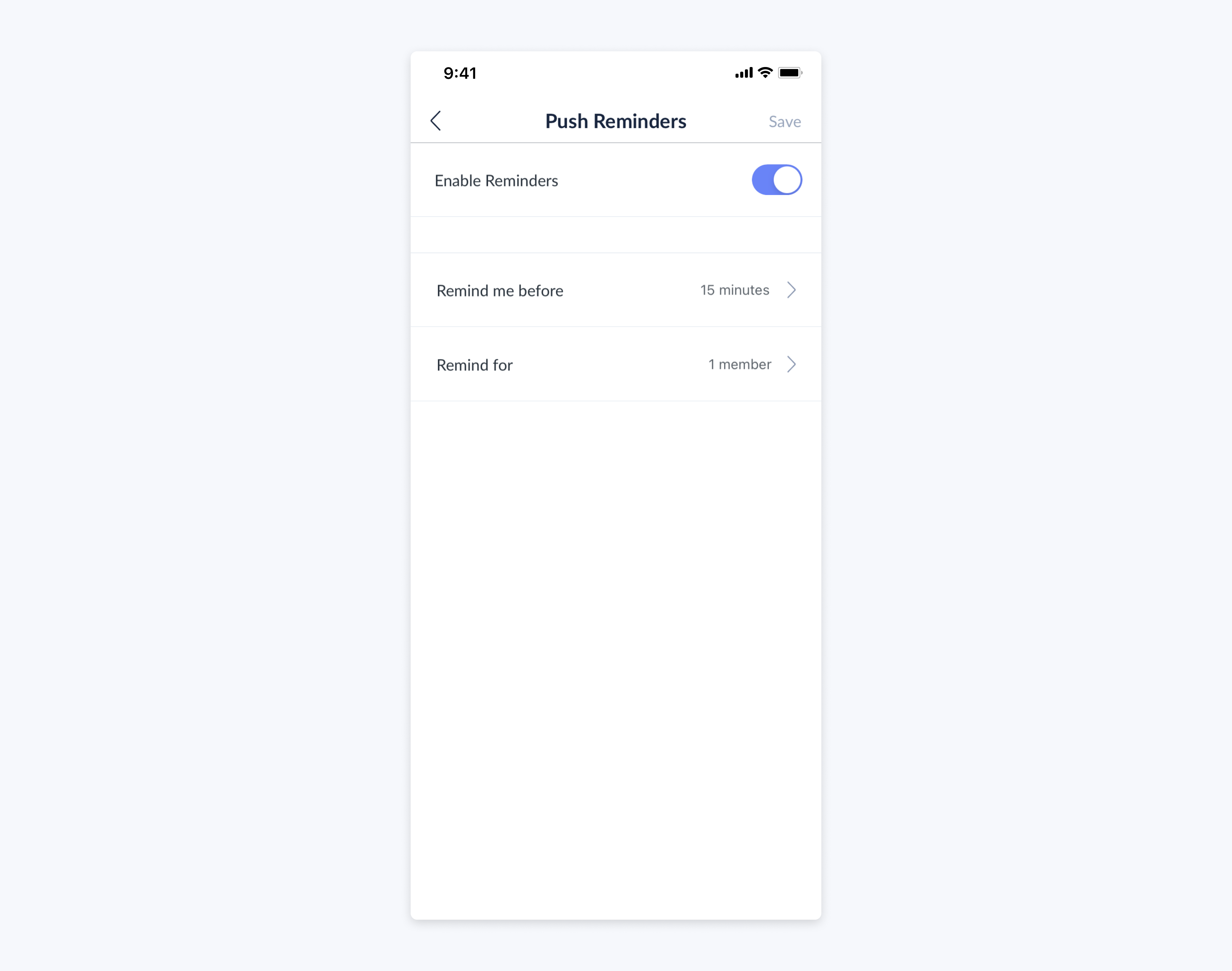 setmore mobile app push reminders enabled