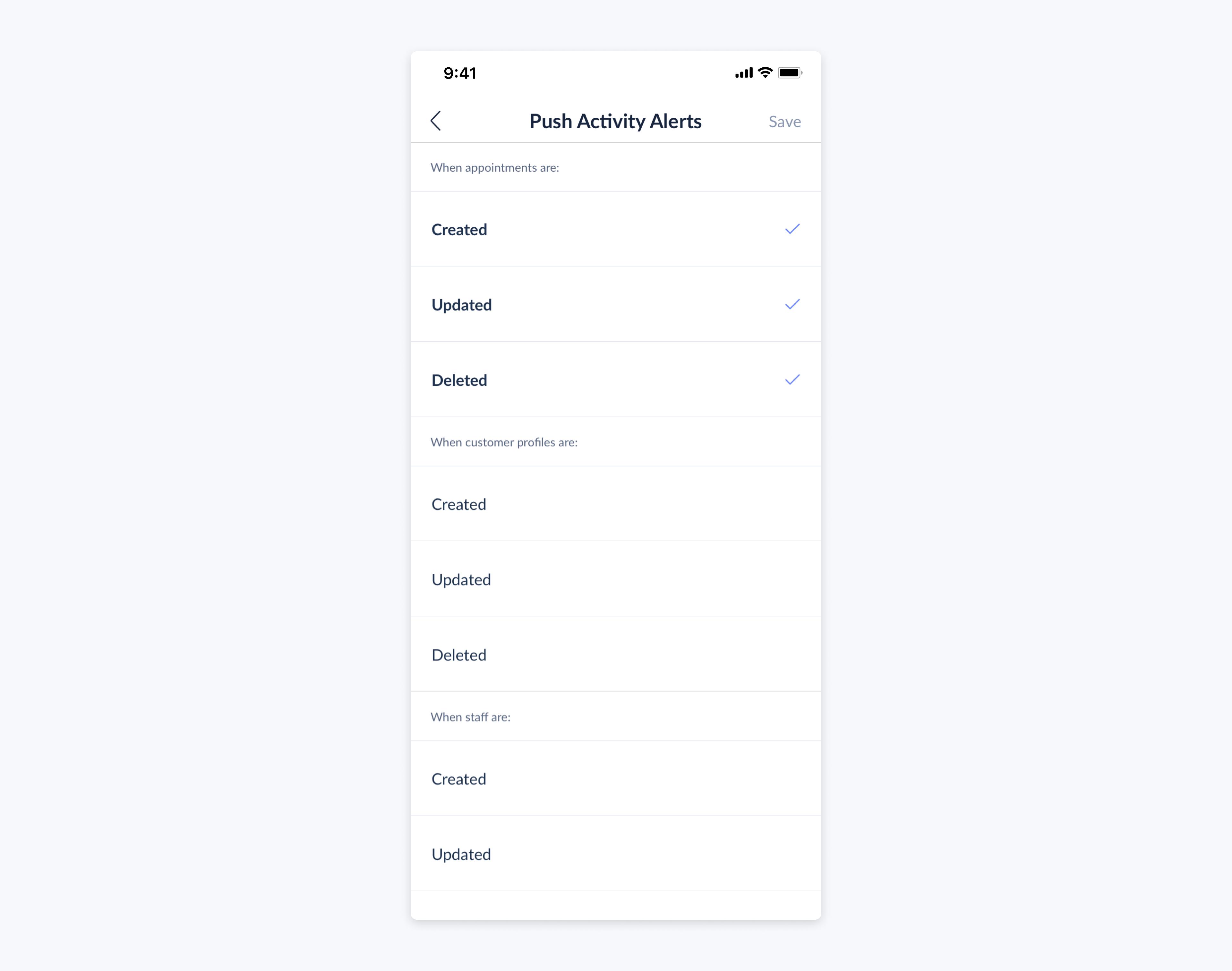 setmore mobile app push activity alerts menu