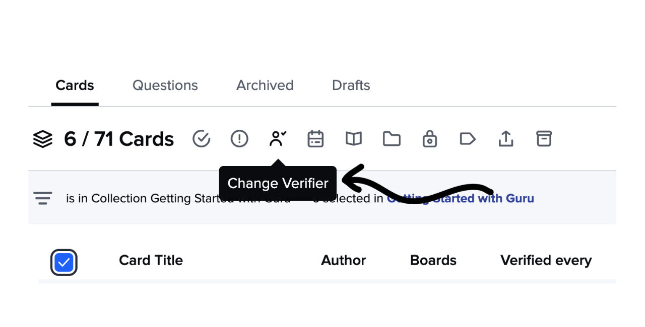 Changing the Verifier of multiple Cards in the Card Manager