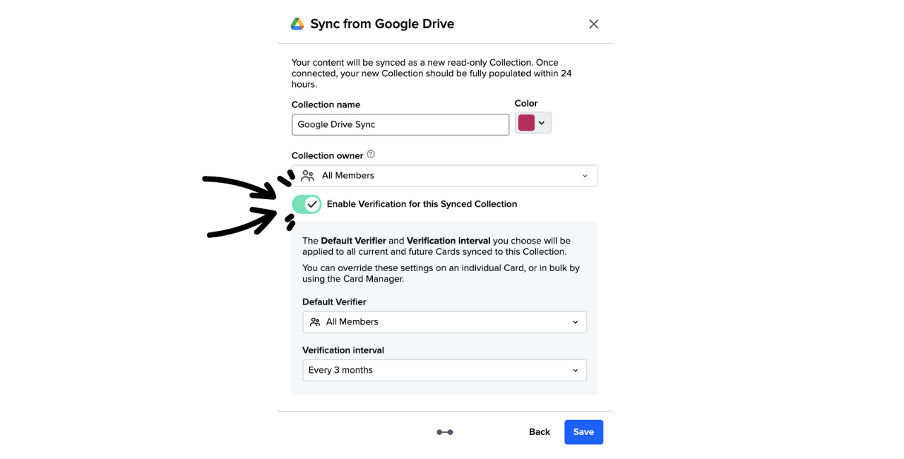 Turning on verification for a Synced Guru Collection