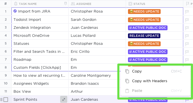 Copy and paste info from Table view