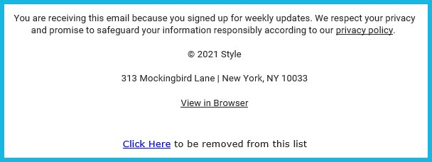 Example of Default Unsubscribe Link in Footer of Email