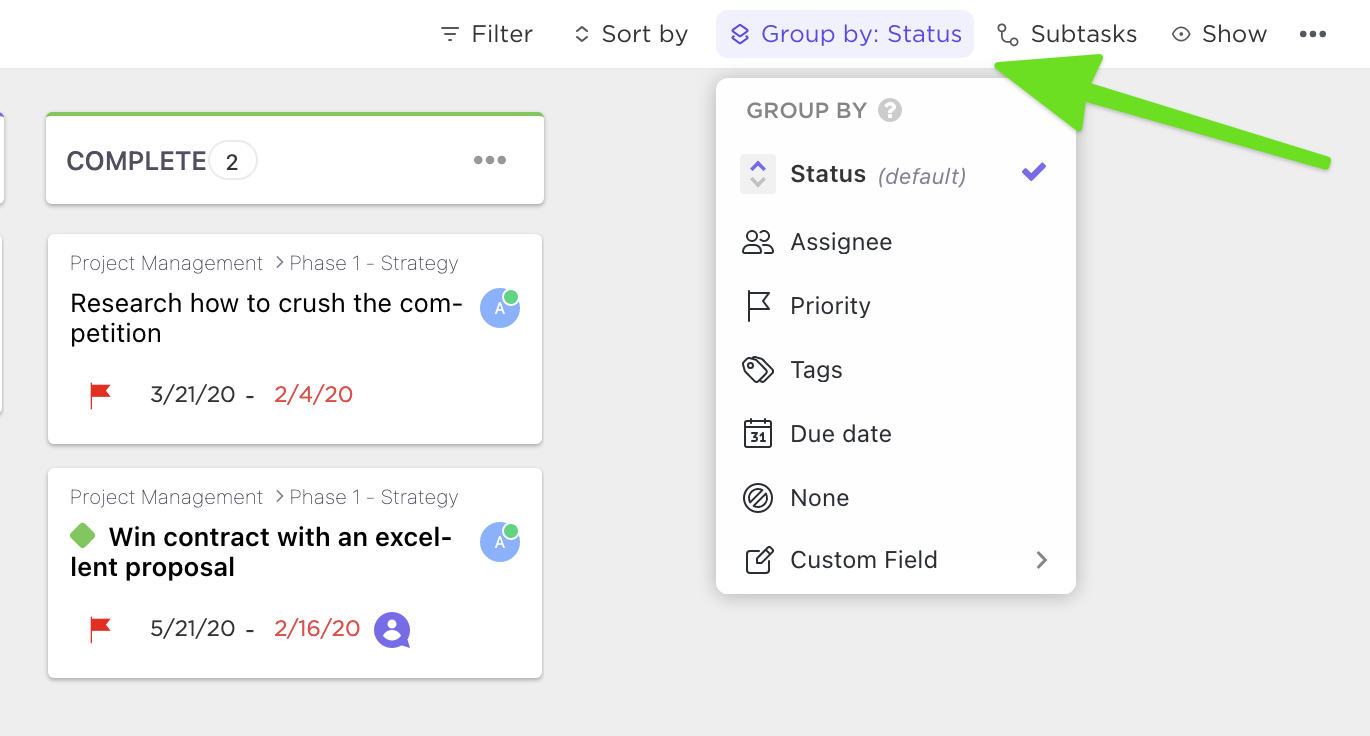 how to set group by in board view