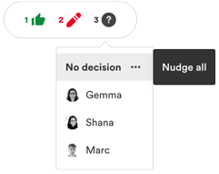 Click the three dots icon to nudge all reviewers who haven't left a decision yet