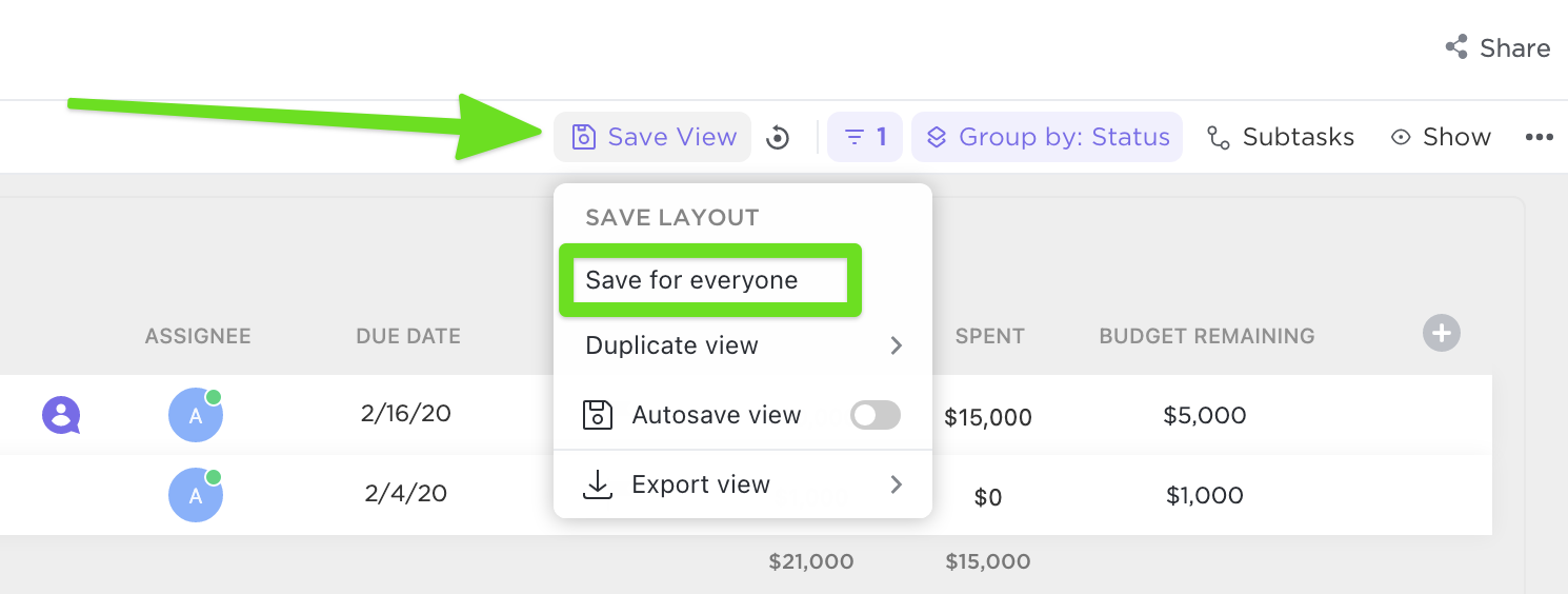 where to click save for everyone