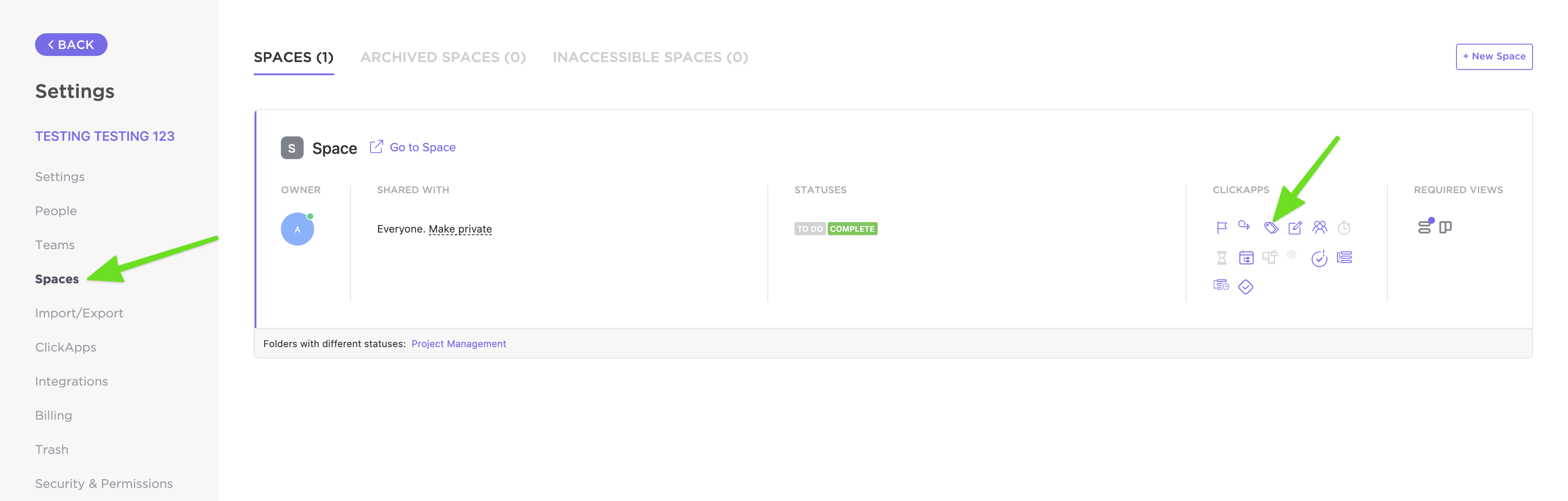 where to toggle on tags in spaces in settings