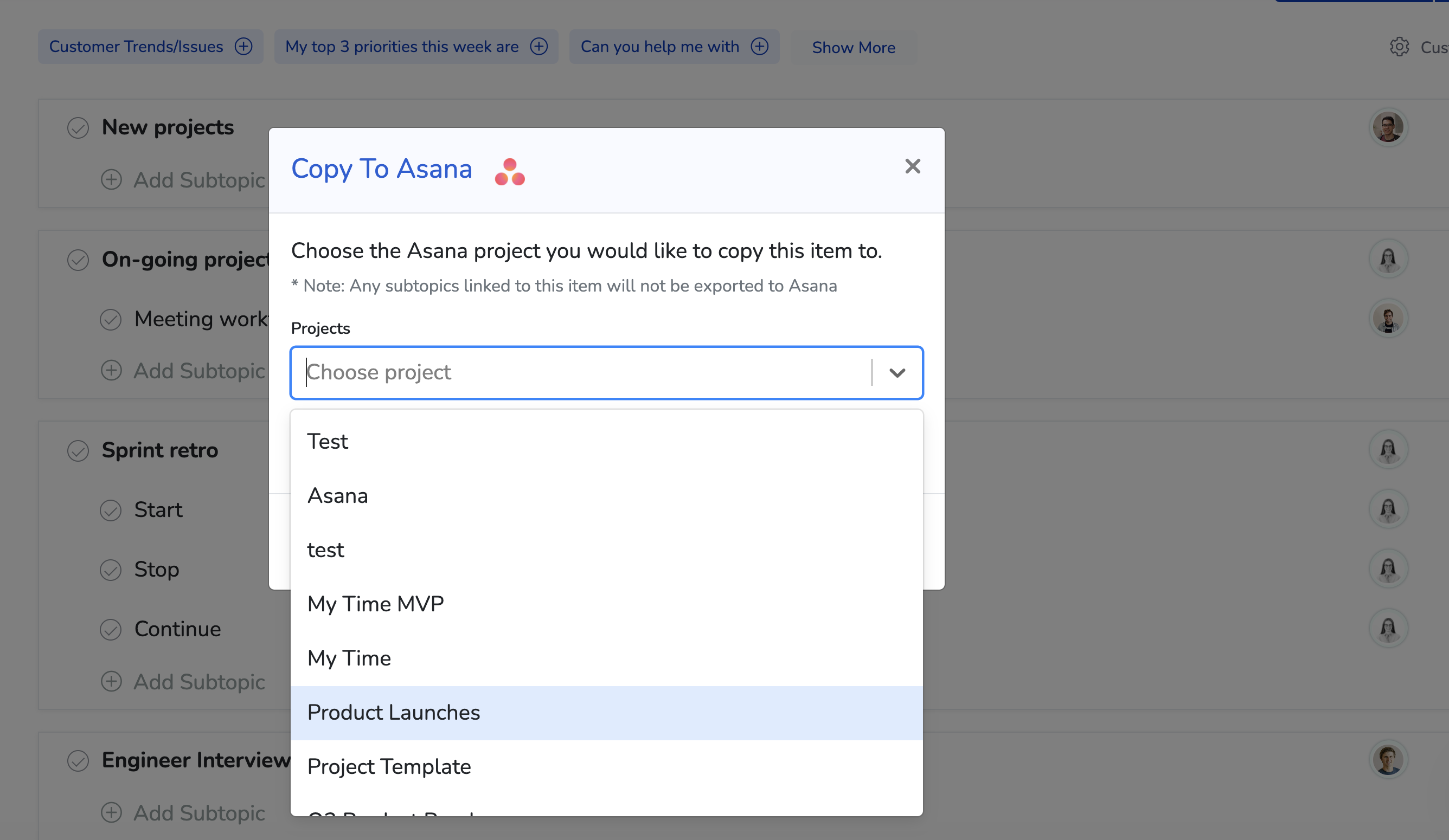 image showing Copy To Asana modal with projects drop-list open
