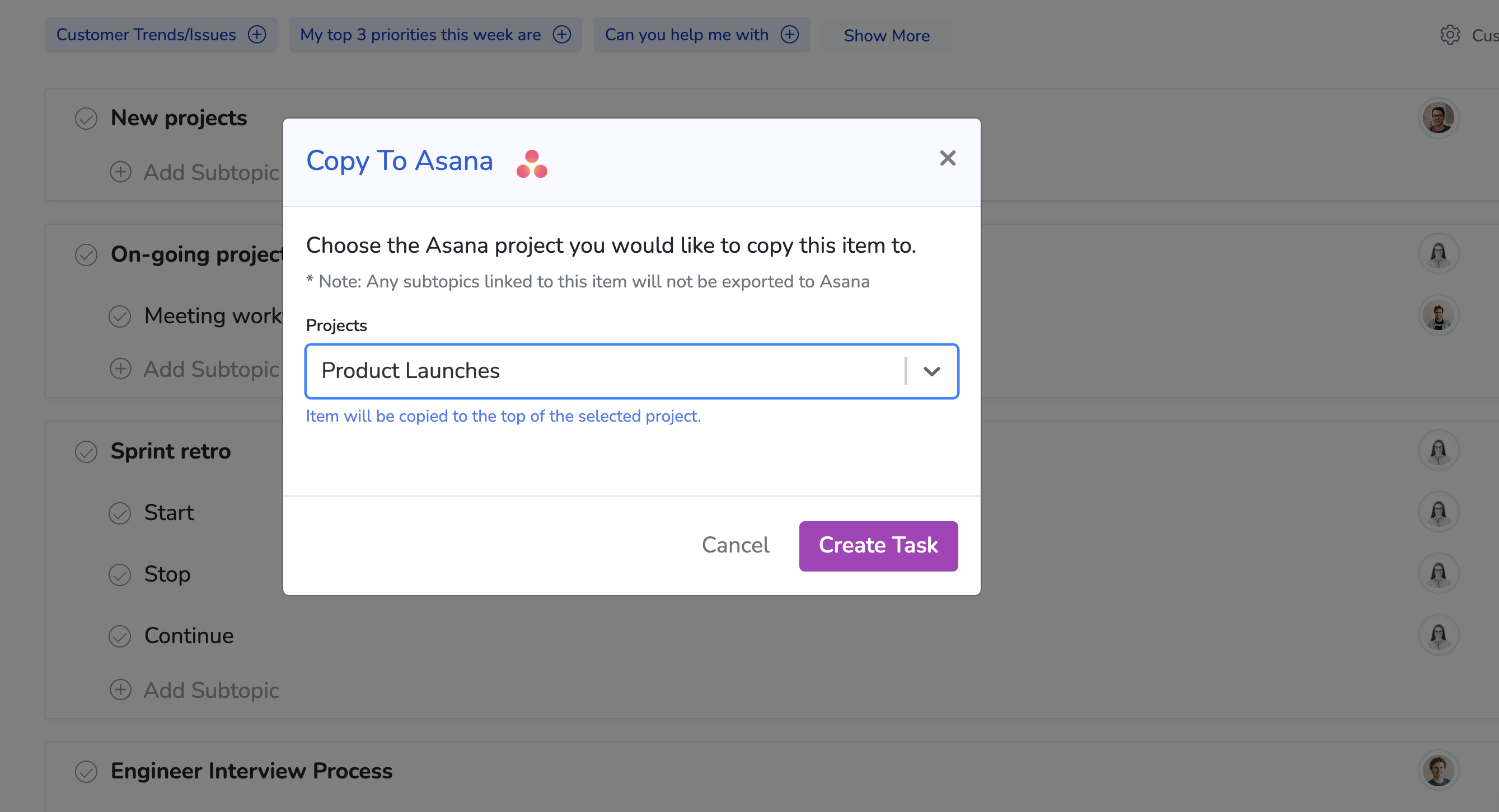 image showing the Copy To Asana modal with project selected from dropdown, and create task button highlighted