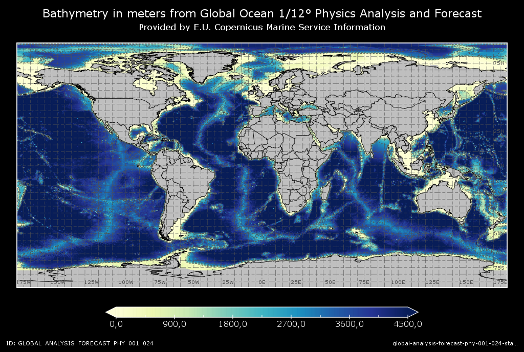plot of modelled bathymetry from Global Ocean Physics Analysis and Forecast Copernicus Marine Product