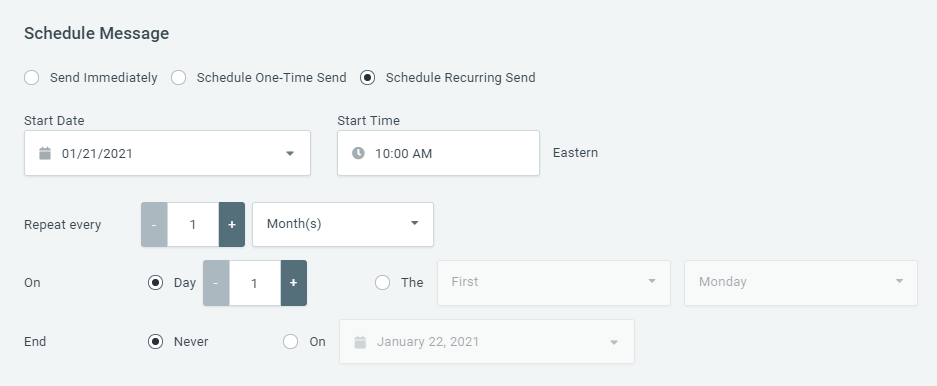 Scheduling Based on Day of Month