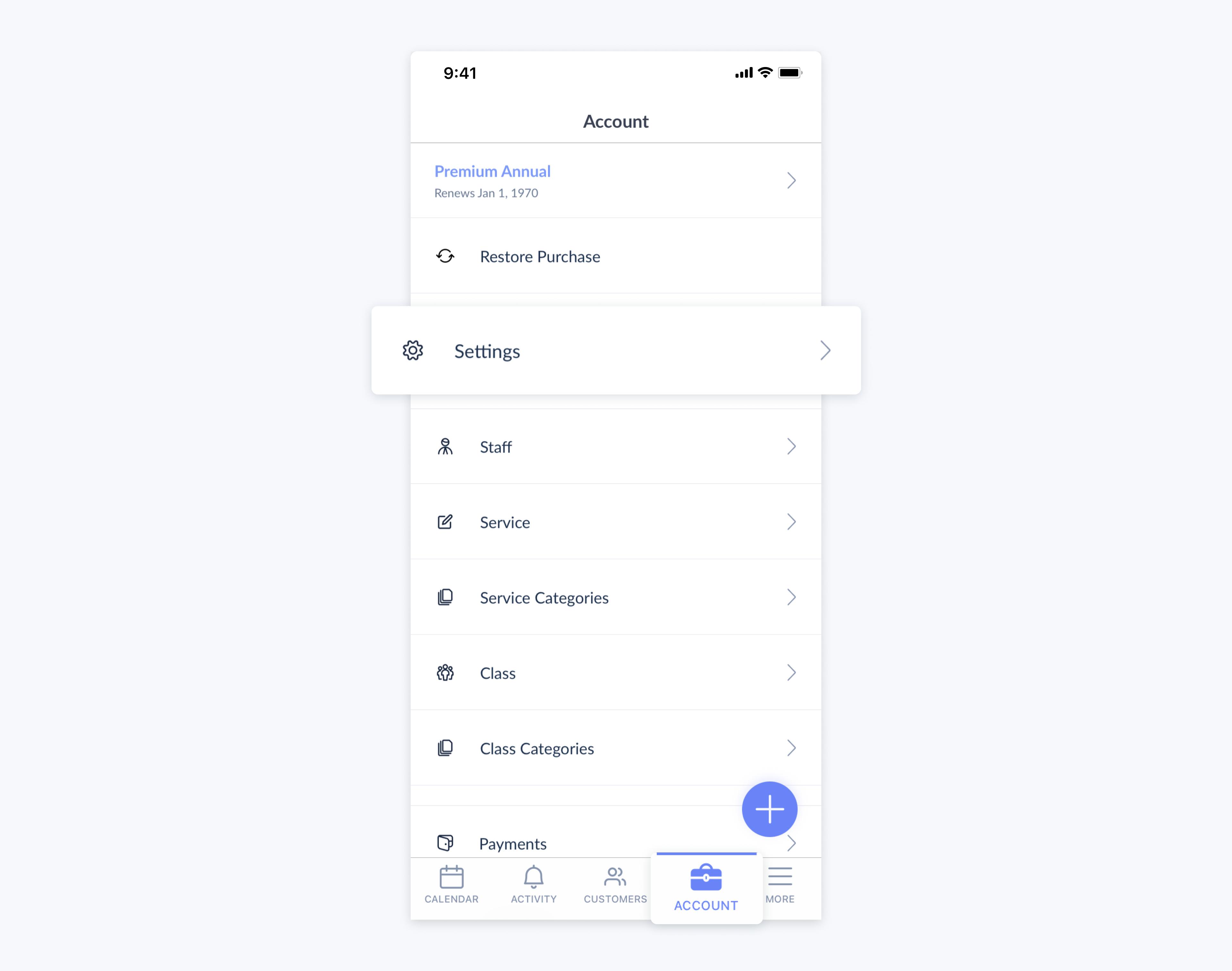 setmore mobile app account settings