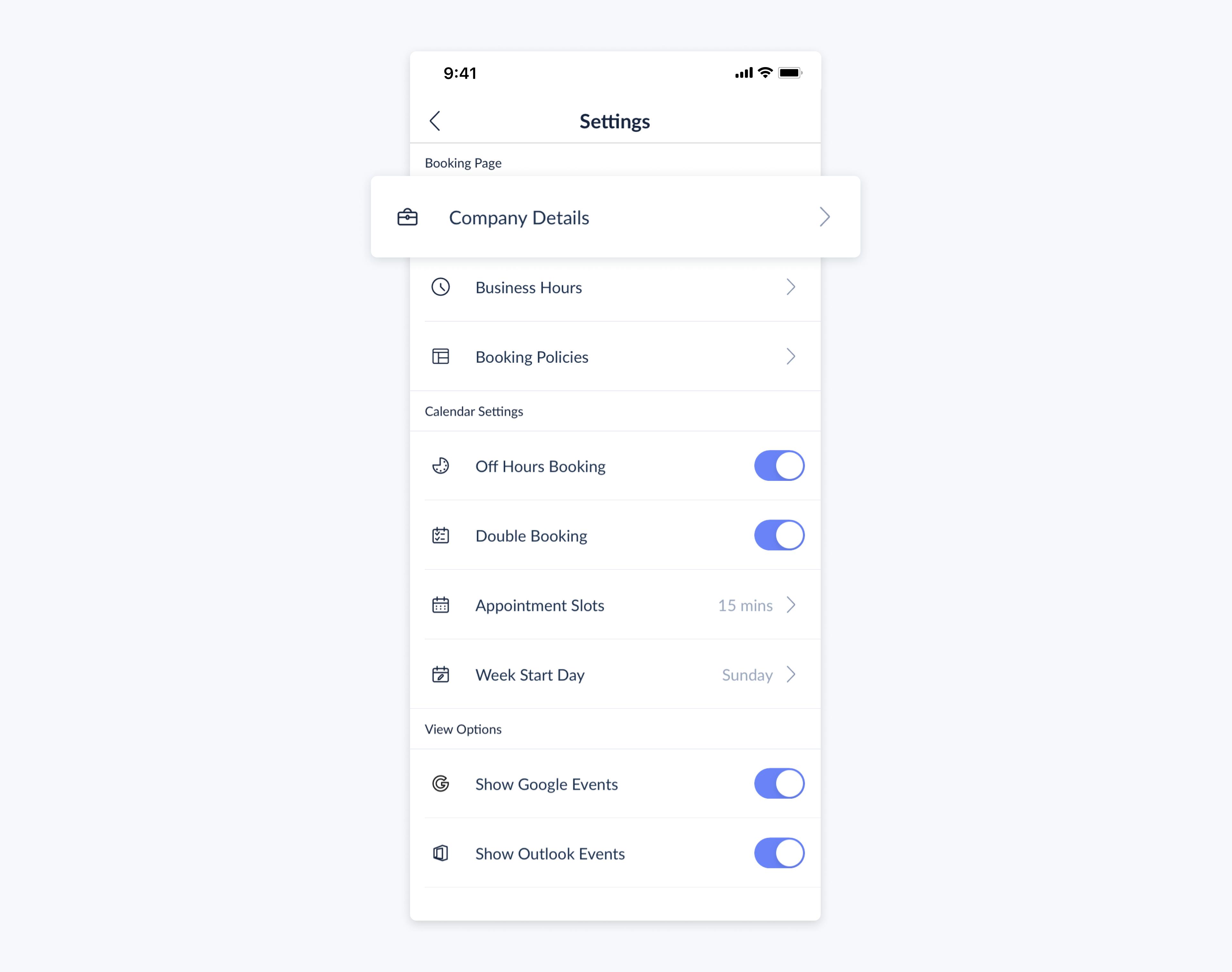 setmore mobile app settings menu